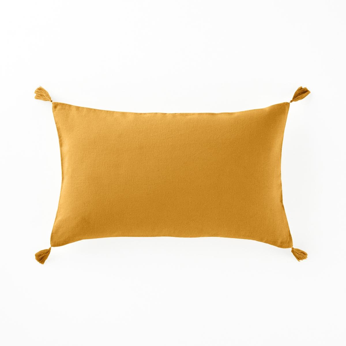 Наволочка на подушку-валик из льна и вискозы, OdorieХарактеристики чехла для подушки :Материал : 55% льна, 45% вискозыЗастежка на скрытую молнию. Уход : Машинная стирка при 40 °С. Отделка кисточками по 4 углам.Размеры наволочки на подушку-валик :50 x 30 см.    Уход :Следуйте рекомендациям по уходу, указанным на этикетке изделия.  Знак Oeko-Tex® гарантирует, что товары прошли проверку и были изготовлены без применения вредных для здоровья человека веществ.<br><br>Цвет: шафран