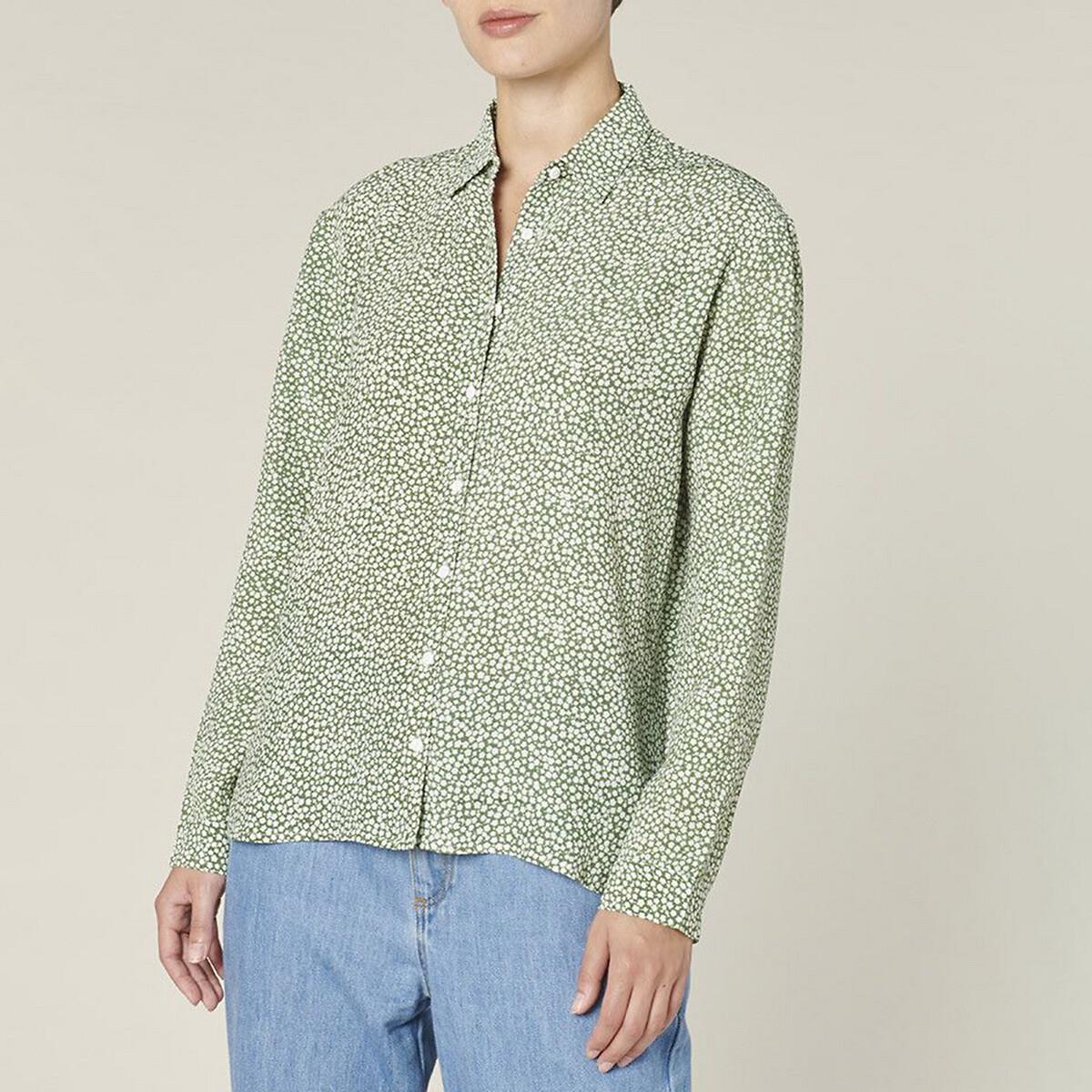 Рубашка La Redoute С принтом с длинными рукавами DEBORAH 3(L) зеленый блузка la redoute из вуали с принтом и длинными рукавами smoke 3 l каштановый