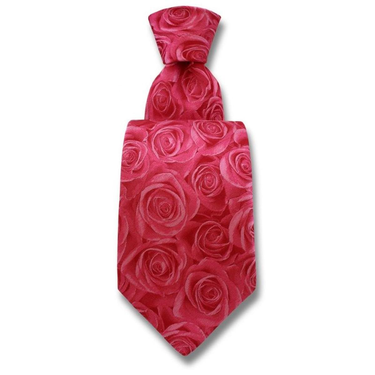 Cravate soie fleur de rose