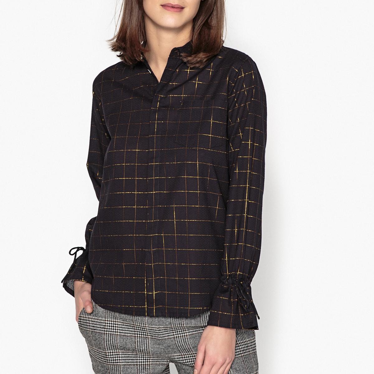 Блузка-рубашка  с длинными рукавами CHECKБлузка-рубашка  с длинными рукавами  LEON AND HARPER - модель CHECK . Рисунок в клетку на радужной ткани. Детали •  Длинные рукава •  Приталенный покрой •  Рубашечный воротник •  Рисунок в клеткуСостав и уход •  5% вискозы, 95% хлопка •  Следуйте рекомендациям по уходу, указанным на этикетке изделия •  Нагрудный карман  •  Завязки на манжетах для создания воланов  •  Невидимая застежка на пуговицы  •  Низ слегка закругленный<br><br>Цвет: черный