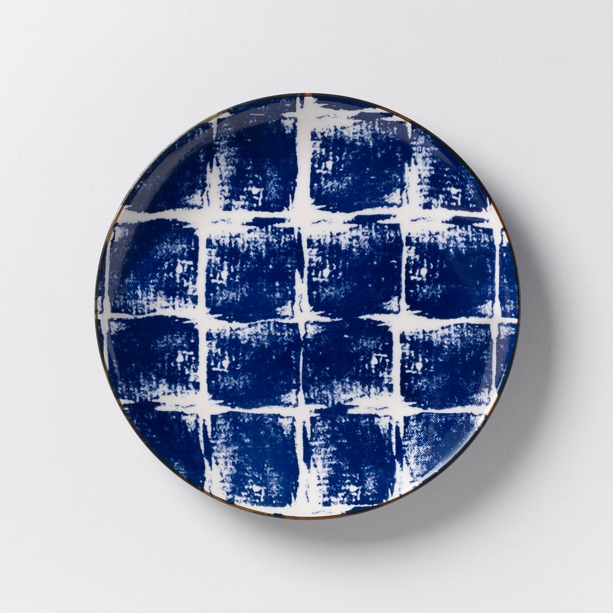 Комплект из 4 десертных тарелок из керамики Malado4 десертные тарелки Malado. Рисунок икат. Из керамики, покрытой глазурью. Размеры : диаметр 20 см. Подходит для посудомоечной машины и микроволновой  печи. Салатник, миска и мелкая тарелка того же набора представлены на  нашем сайте.<br><br>Цвет: горчичный,индиго<br>Размер: единый размер.единый размер