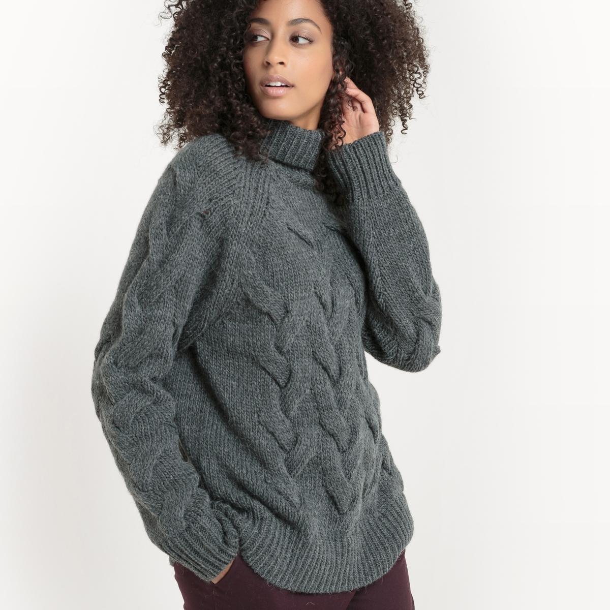 Пуловер, вязка косичка