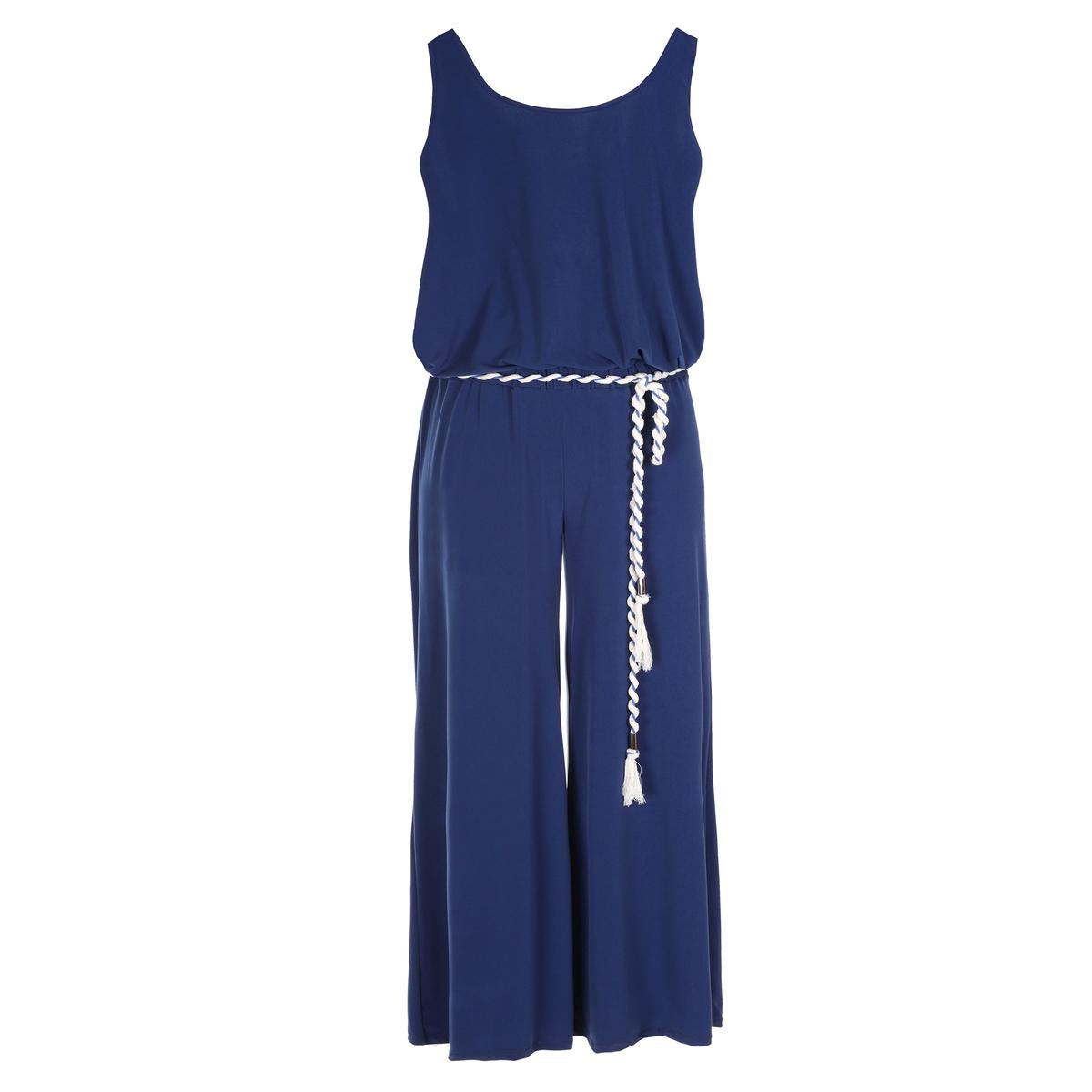 Комбинезон с брюкамиКомбинезон с брюками MAT FASHION из качественного джерси. Верх без рукавов. Брюки свободного покроя. Пояс с завязками контрастного цвета. 94% полиэстера, 6% эластана<br><br>Цвет: синий<br>Размер: 44/48