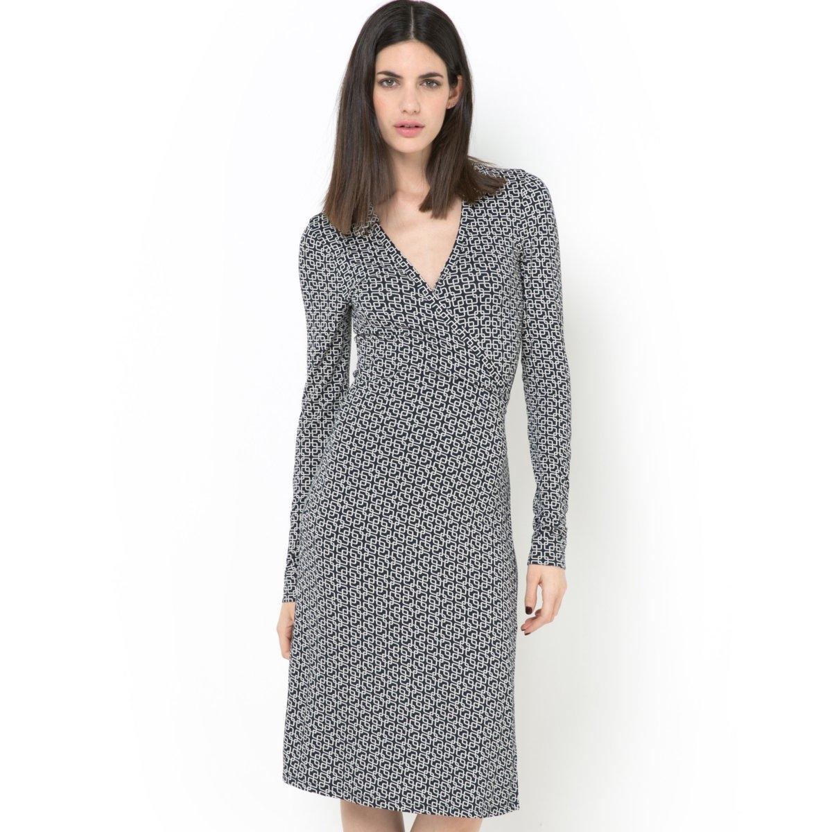 Купить со скидкой Платье с запахом, длинными рукавами и расклешенной юбкой из материала стретч
