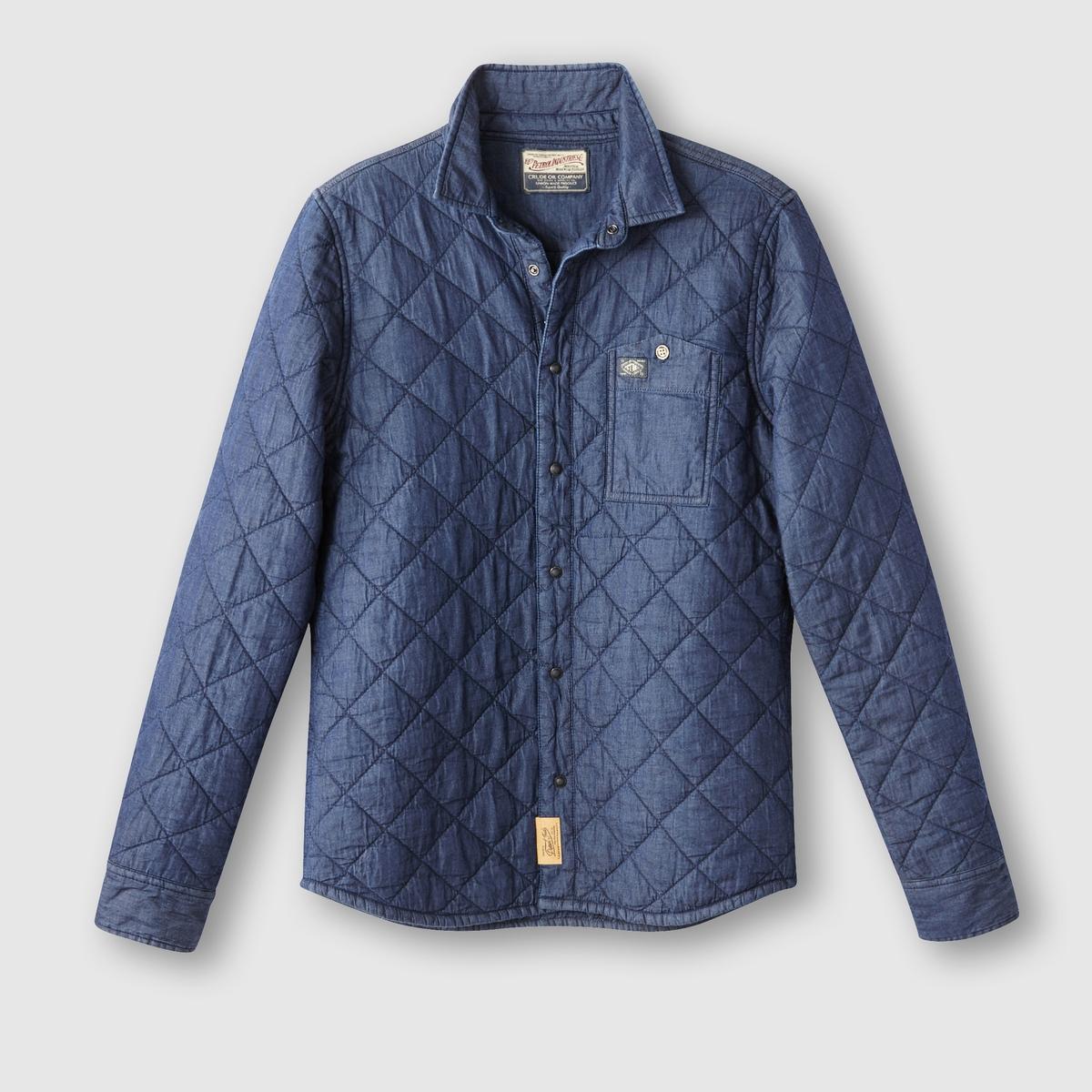 Рубашка с длинными рукавамиРубашка с длинными рукавами, PETROL INDUSTRIES.  Прямой покрой, воротник со свободными уголками . Декоративная простежка. Застежка на кнопки. Нагрудный карман с логотипом. Кнопки на манжетах, слегка закругленный низ.Состав и описаниеМатериал : 100% хлопкаМарка : PETROL INDUSTRIES<br><br>Цвет: темно-синий