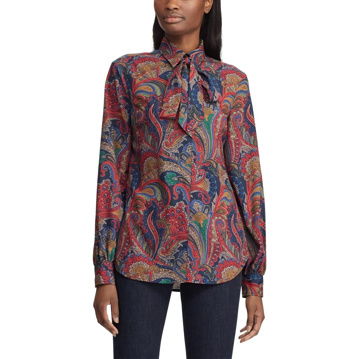 все цены на Рубашка La Redoute С принтом с завязками и длинными рукавами L красный онлайн