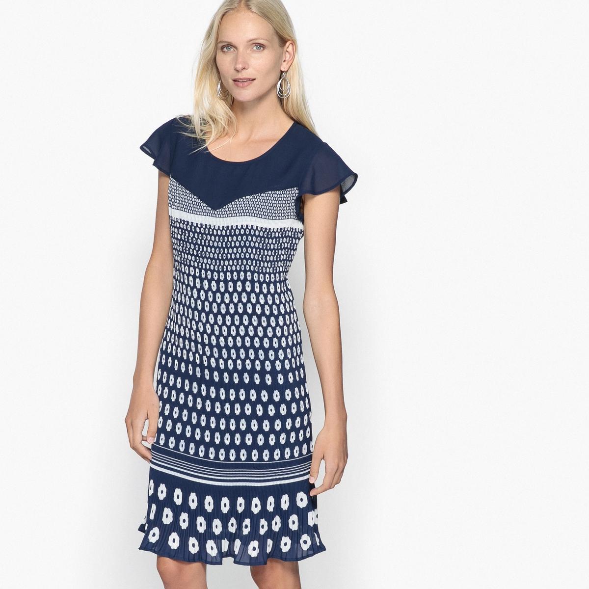 Платье с плиссировкой и рисунком средней длины топ с манишкой и плиссировкой