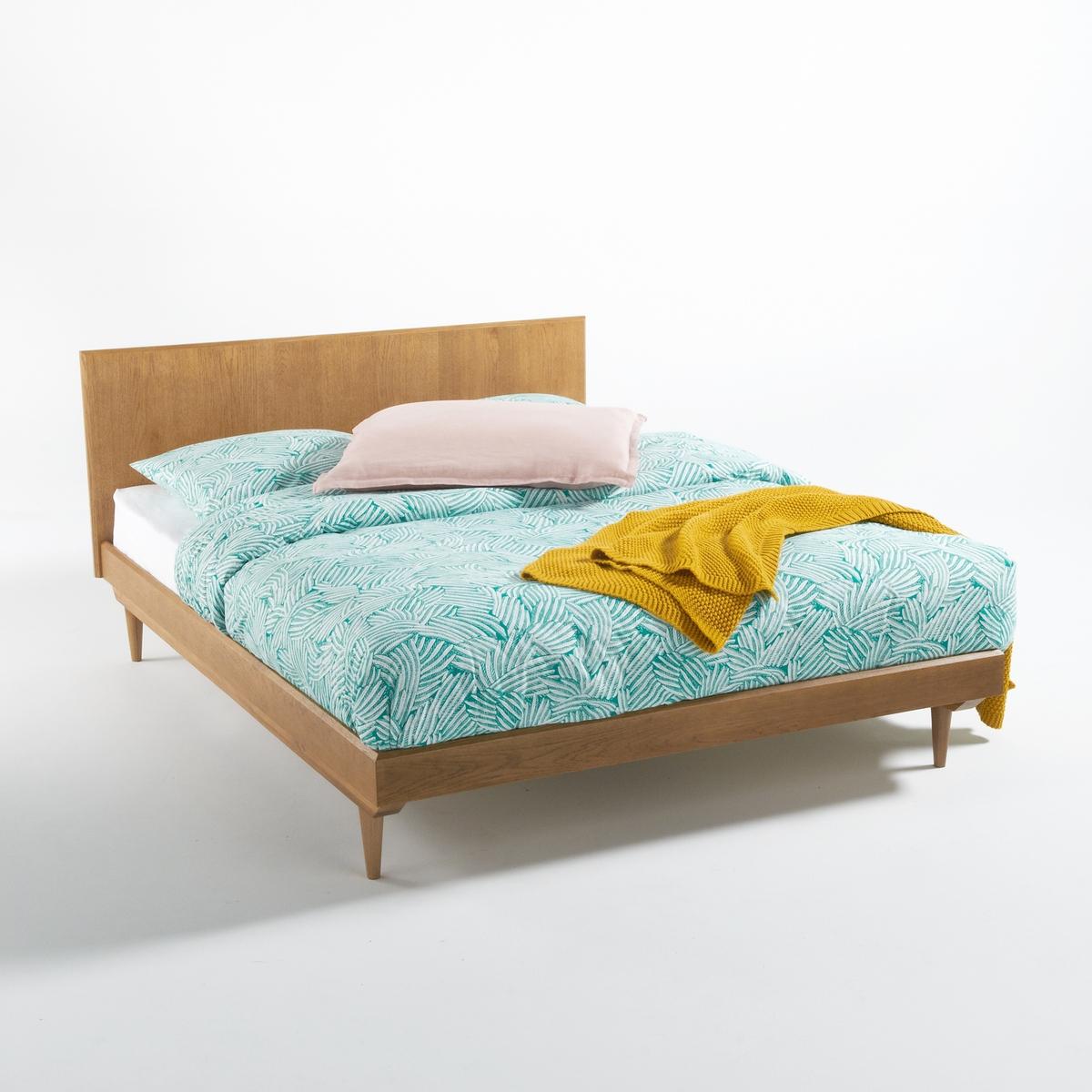Кровать La Redoute В винтажном стиле Quilda 140 x 190 см каштановый столик журнальный в винтажном стиле из обыкновенного дуба quilda