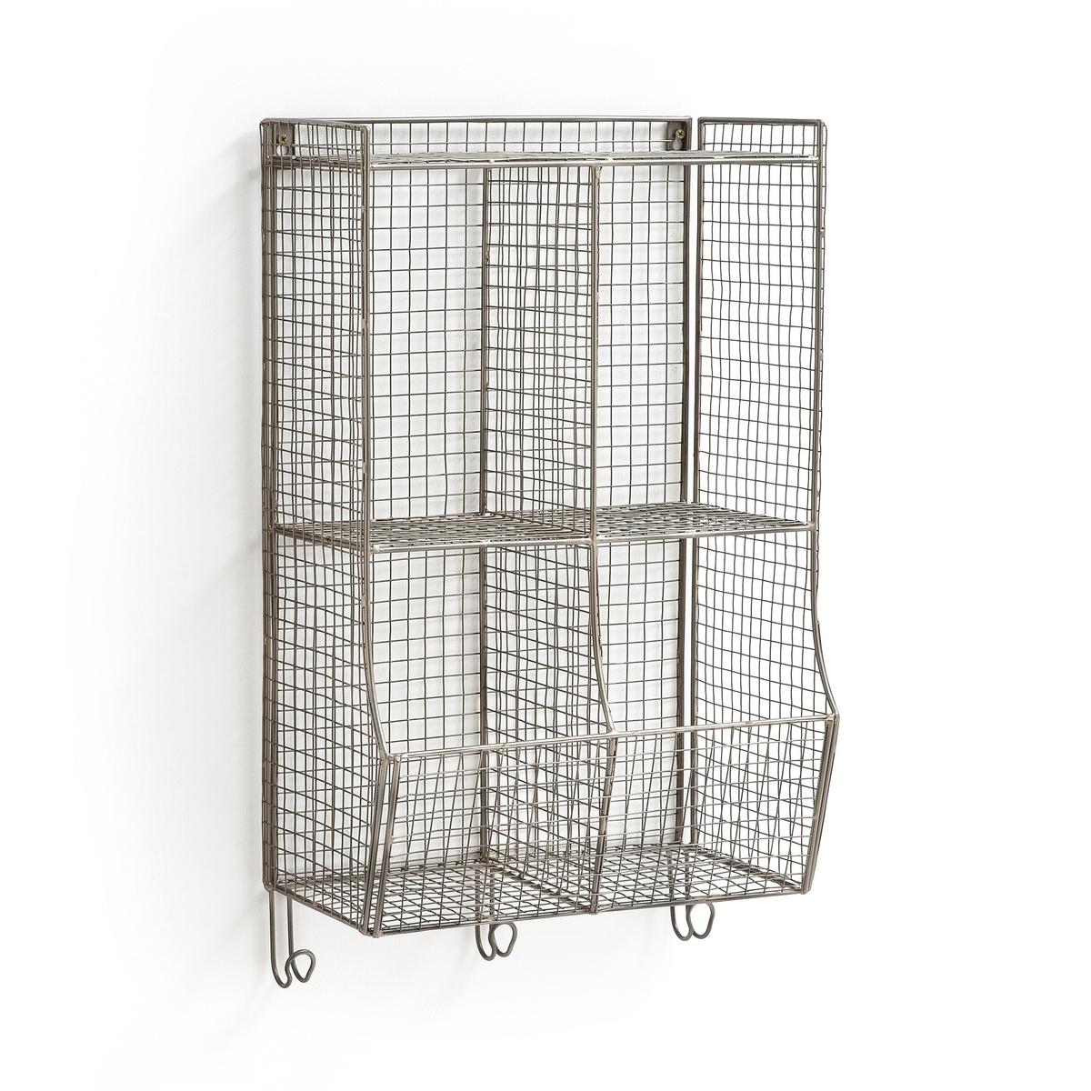 Настенная La Redoute Этажерка из решетчатого металлаAREGLO единый размер серый этажерка из решетчатого металла и массива мангового дереваareglo