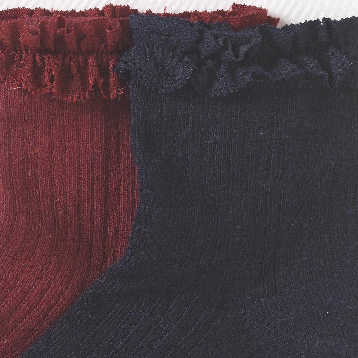 2 пары носков с воланамиСостав и описание : Материал      75% хлопка, 22% полиамида, 3% эластана Марка      abcdRУход :Ручная стирка.Машинная сушка запрещена.Не гладить.<br><br>Цвет: синий+фиолетовый<br>Размер: 19/22