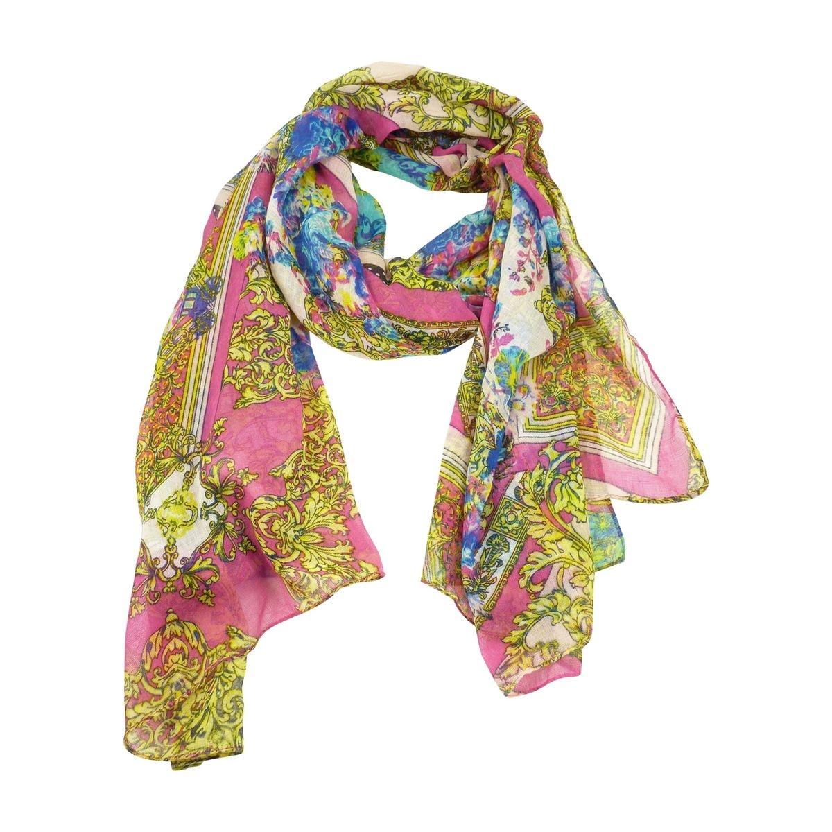 Foulard echarpe imprime floral rose femme