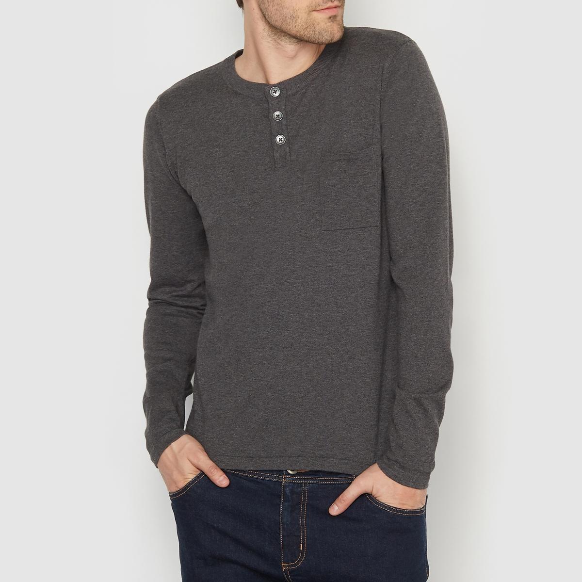 Пуловер с круглым вырезом и разрезом спередиСостав и описаниеМатериал:   80% хлопка, 20% полиамида.Марка: R edition<br><br>Цвет: темно-серый меланж<br>Размер: 3XL