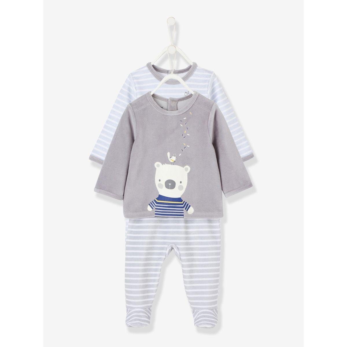 Lot de 2 pyjamas bébé 2 pièces en velours
