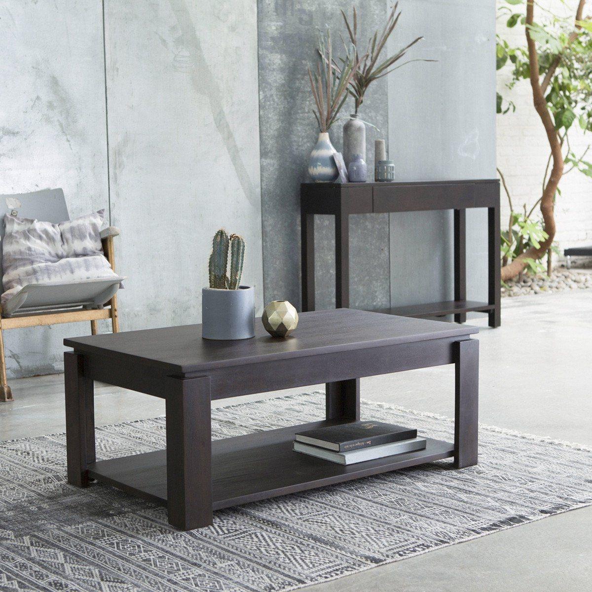 Table basse en bois d'acajou Atlas 100x60