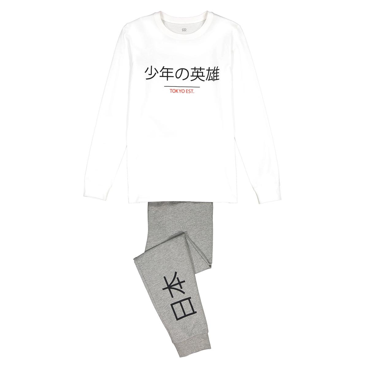 Pijama em algodão com motivo nipónico, 10-16 anos