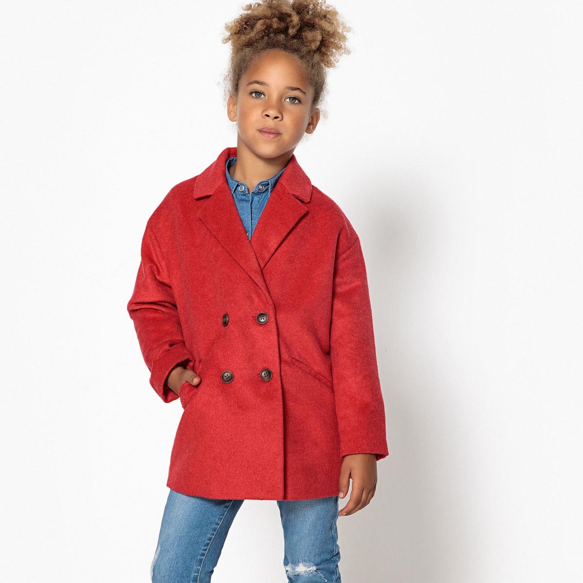 Пальто La Redoute Средней длины с пиджачным воротником 12 лет -150 см красный шорты la redoute плавательные с принтом джунгли мес года 18 мес 81 см синий