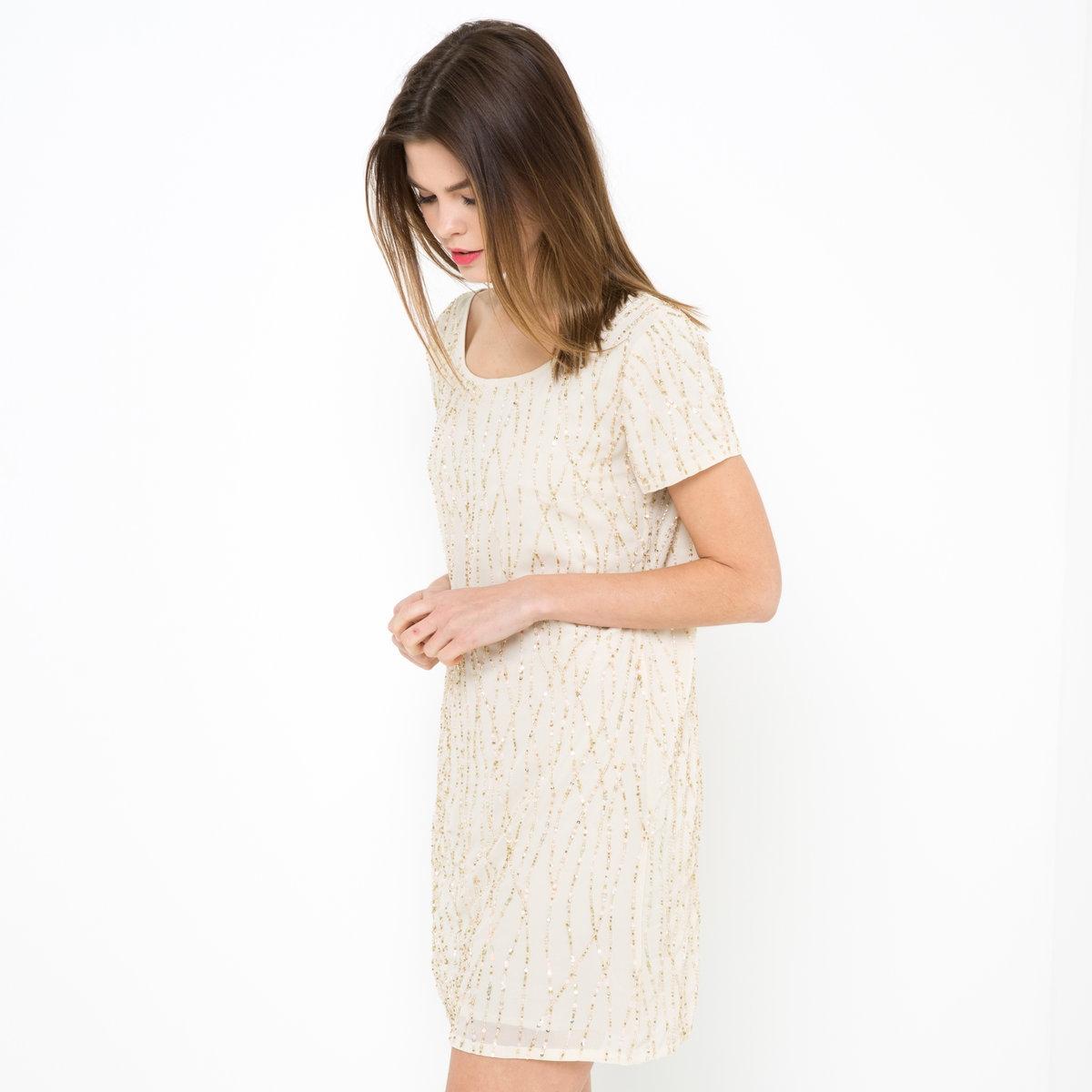 Платье, расшитое бусинамиПлатье из 100% полиэстера. Подкладка из полиэстера. Длина 88 см.<br><br>Цвет: розово-бежевый<br>Размер: 38 (FR) - 44 (RUS).42 (FR) - 48 (RUS).44 (FR) - 50 (RUS)