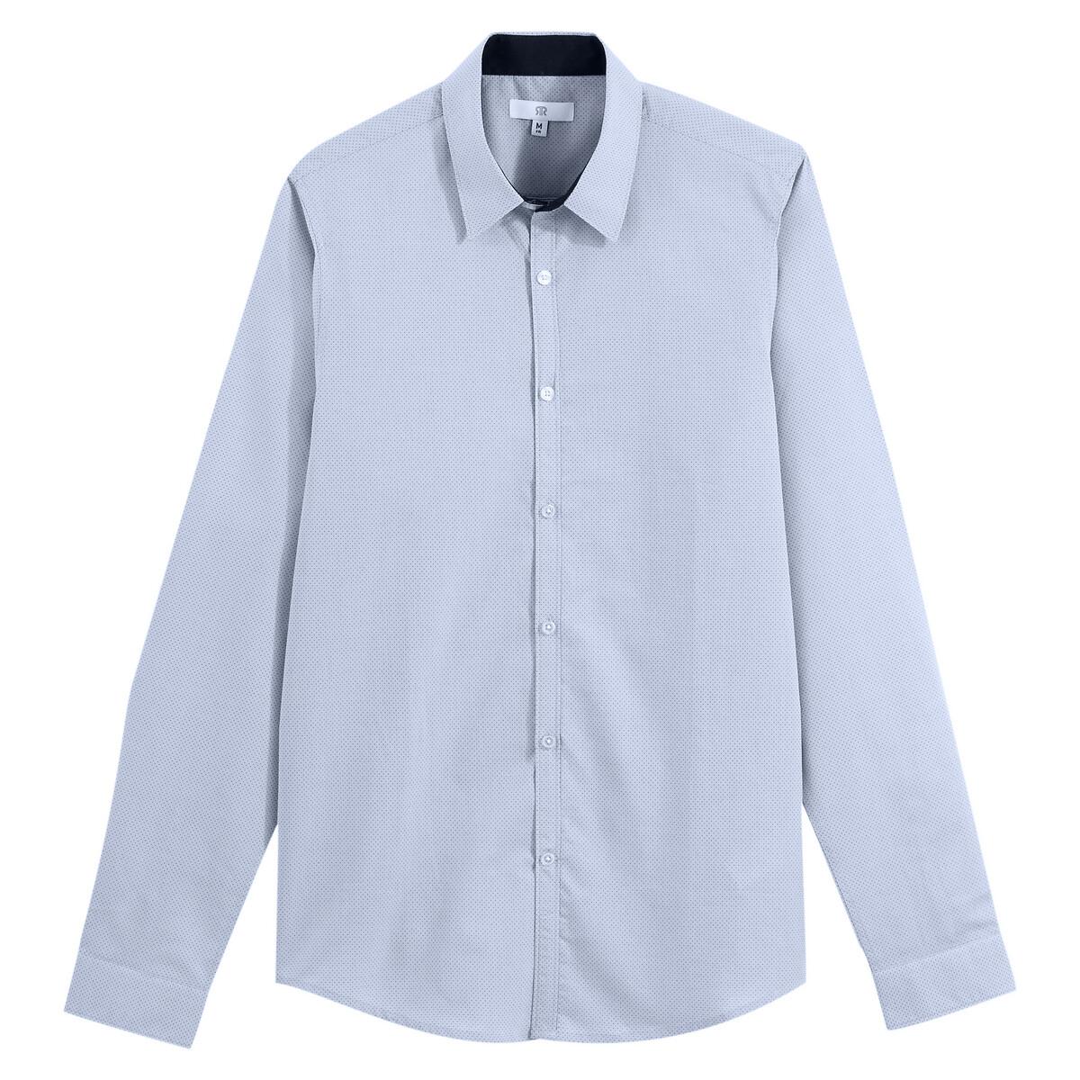 Camisa con corte slim de manga larga y estampado de lunares