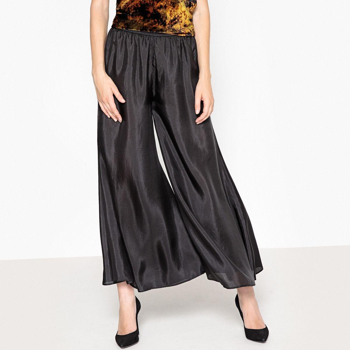 Pantalon large en soie, taille élastique