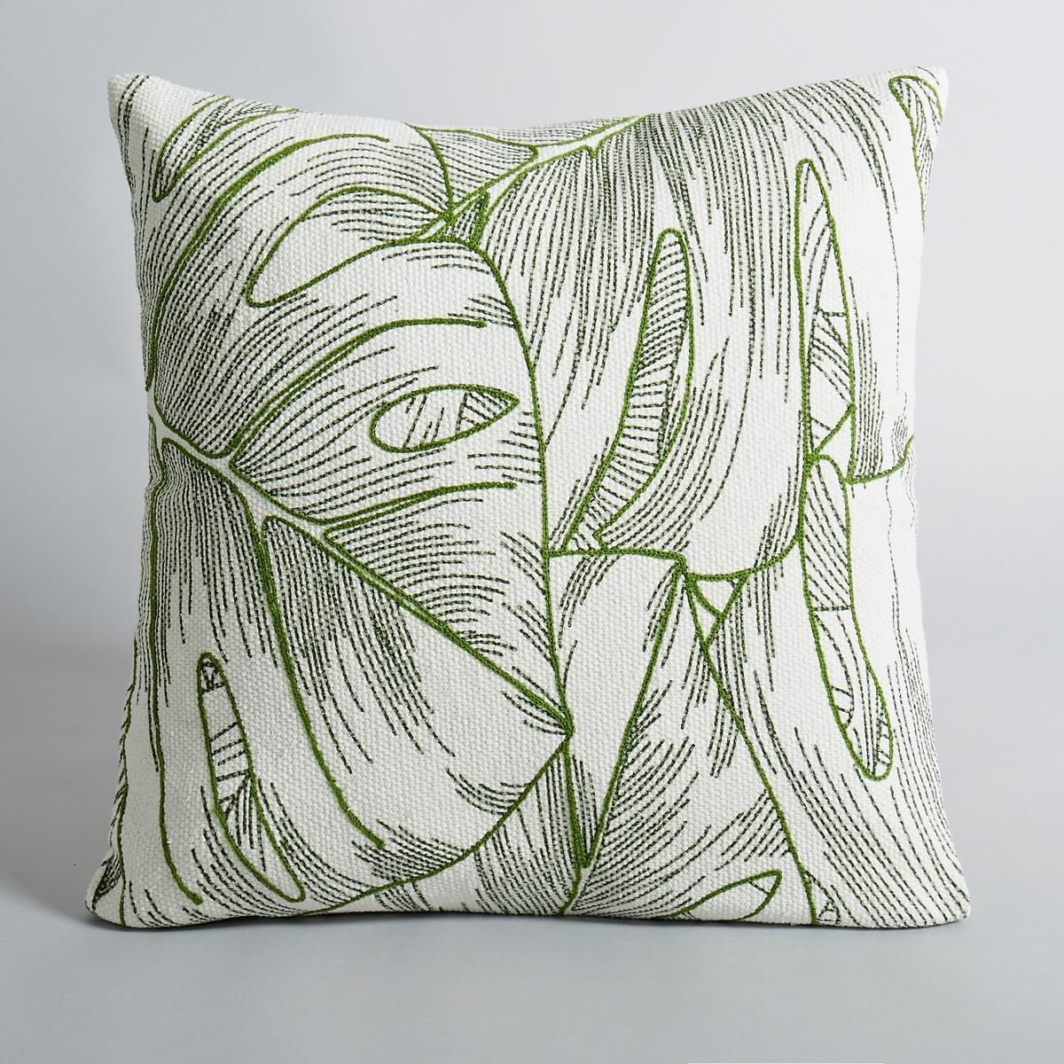 Чехол на подушку Saskia, квадратная модельЧехол на подушку с рисунком листья.Квадратная модель. Лицевая сторона с рисунком листья и с вышивкой. Однотонная оборотная сторона.100 % хлопка. Размеры:. 45 x 45 см.<br><br>Цвет: экрю/ зеленый