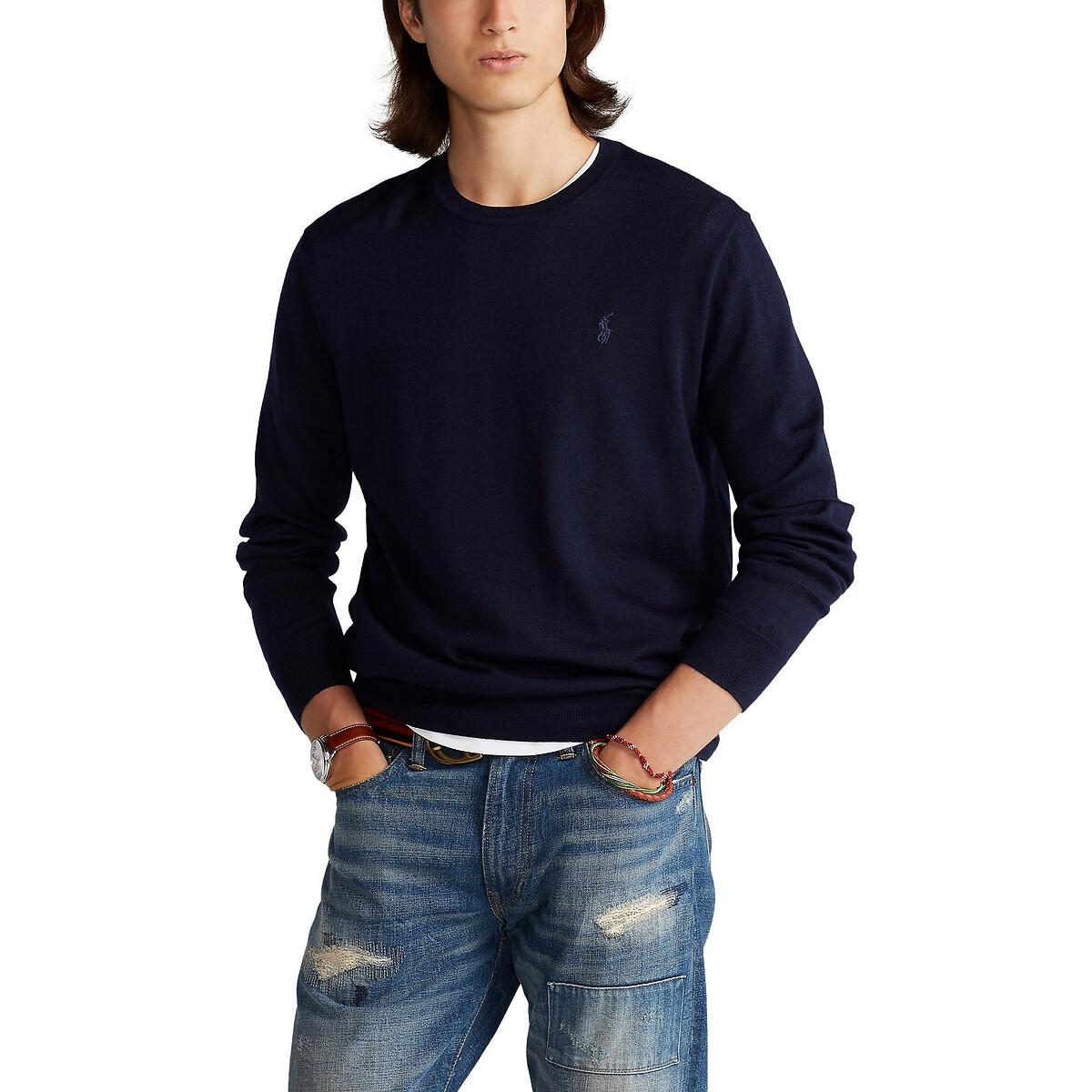 Пуловер LaRedoute С круглым вырезом из шерсти мериноса XXL синий