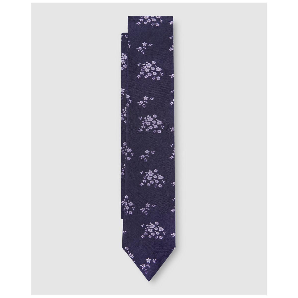Cravate bleu marine microimprimé fleurs