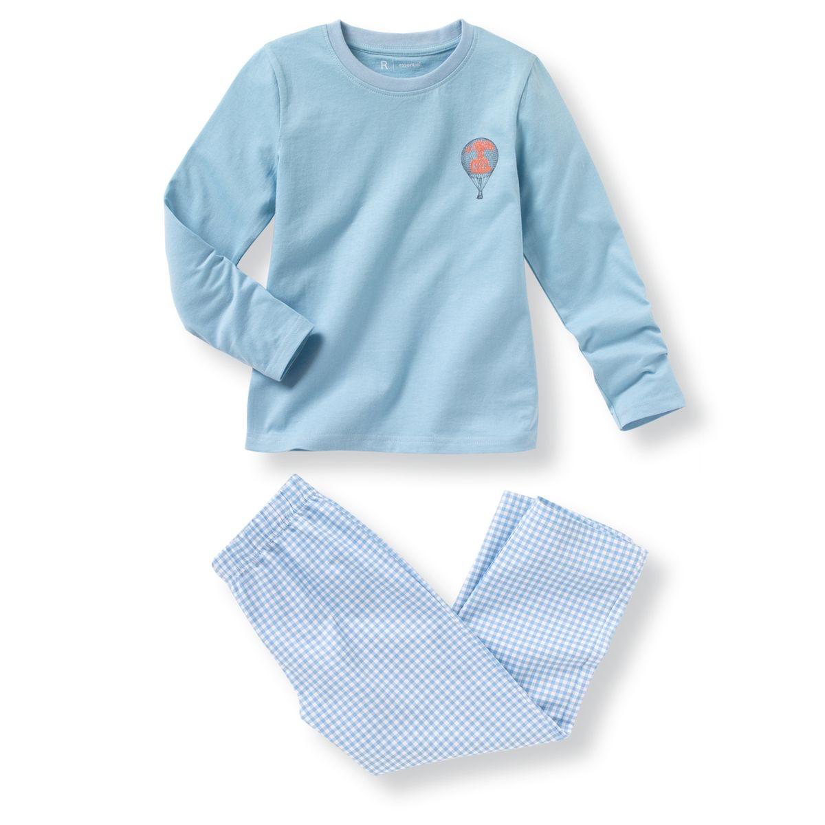 """Pyjama bi-matière composé d'un T-shirt en jersey et d'un pantalon en popeline. T-shirt manches longues avec impression """"montgolfière"""" poitrine. Col rond. Pantalon à carreaux et à taille élastiquée.Composition et détails : Matière Pur coton"""