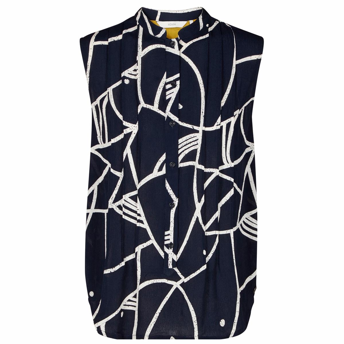 Блузка без рукавов, с рисунком, круглый вырез с разрезом спереди
