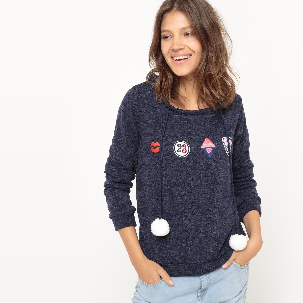 Пуловер с длинными рукавами, нашивками и помпонамиМатериал : 66% акрила, 19% полиамида, 15% полиэстера Длина рукава : длинные рукава Форма воротника : круглый вырез Покрой пуловера : стандартный Рисунок : рисунок спереди<br><br>Цвет: темно-синий<br>Размер: S/M