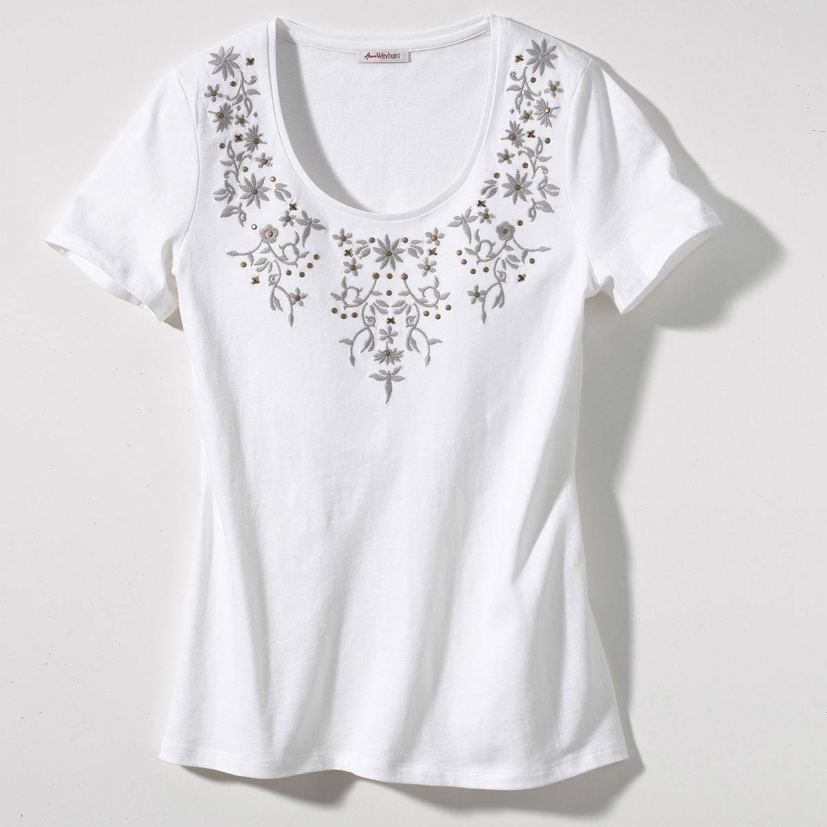 T-shirt bordada, mangas curtas