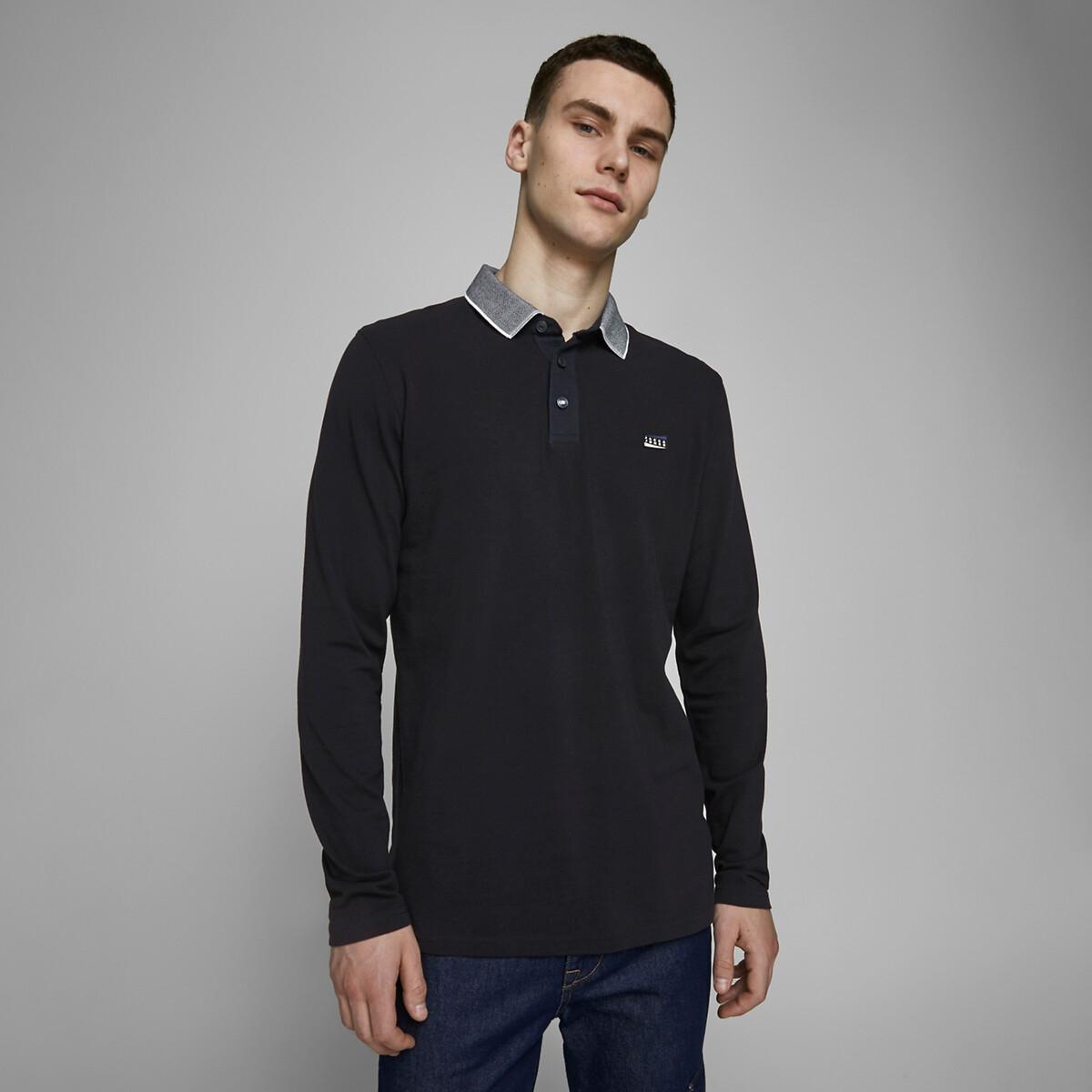 Футболка-поло La Redoute С длинными рукавами Charming S синий блуза la redoute с рисунком и длинными рукавами s синий