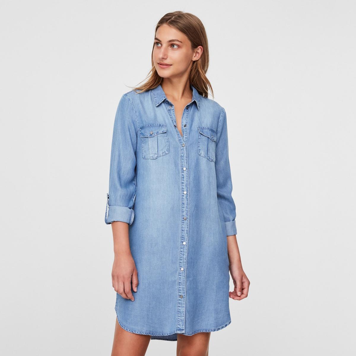 Платье-рубашка La Redoute Джинсовая S синий