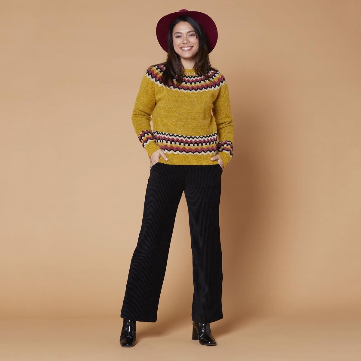 Пуловер La Redoute С круглым вырезом и графическим рисунком Email L желтый