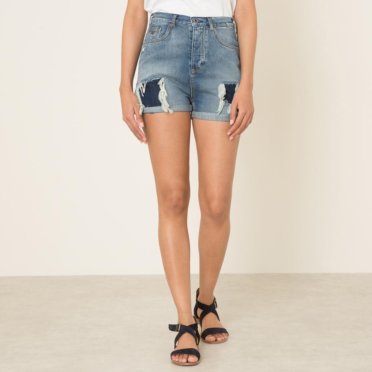 Шорты джинсовые с эффектом потертостиСостав и описание Материал : 60% хлопка, 40% лиоцеллаМарка : MAISON SCOTCH<br><br>Цвет: синий деним