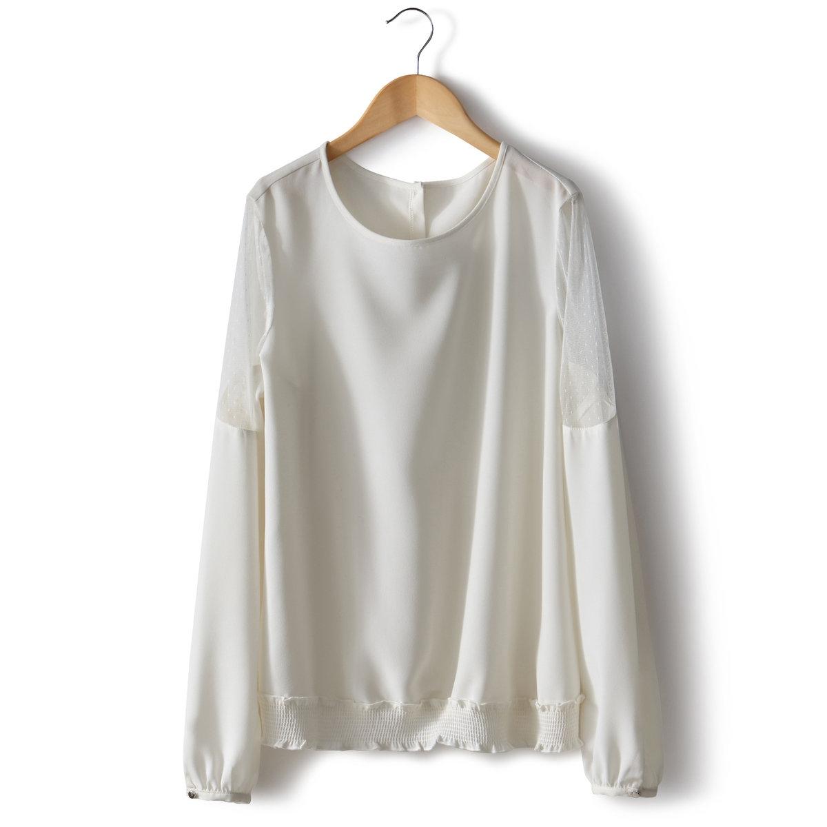 Блузка из расшитой гладью тканиДлина ок.64 см. 100% полиэстера.<br><br>Цвет: слоновая кость<br>Размер: 38 (FR) - 44 (RUS)