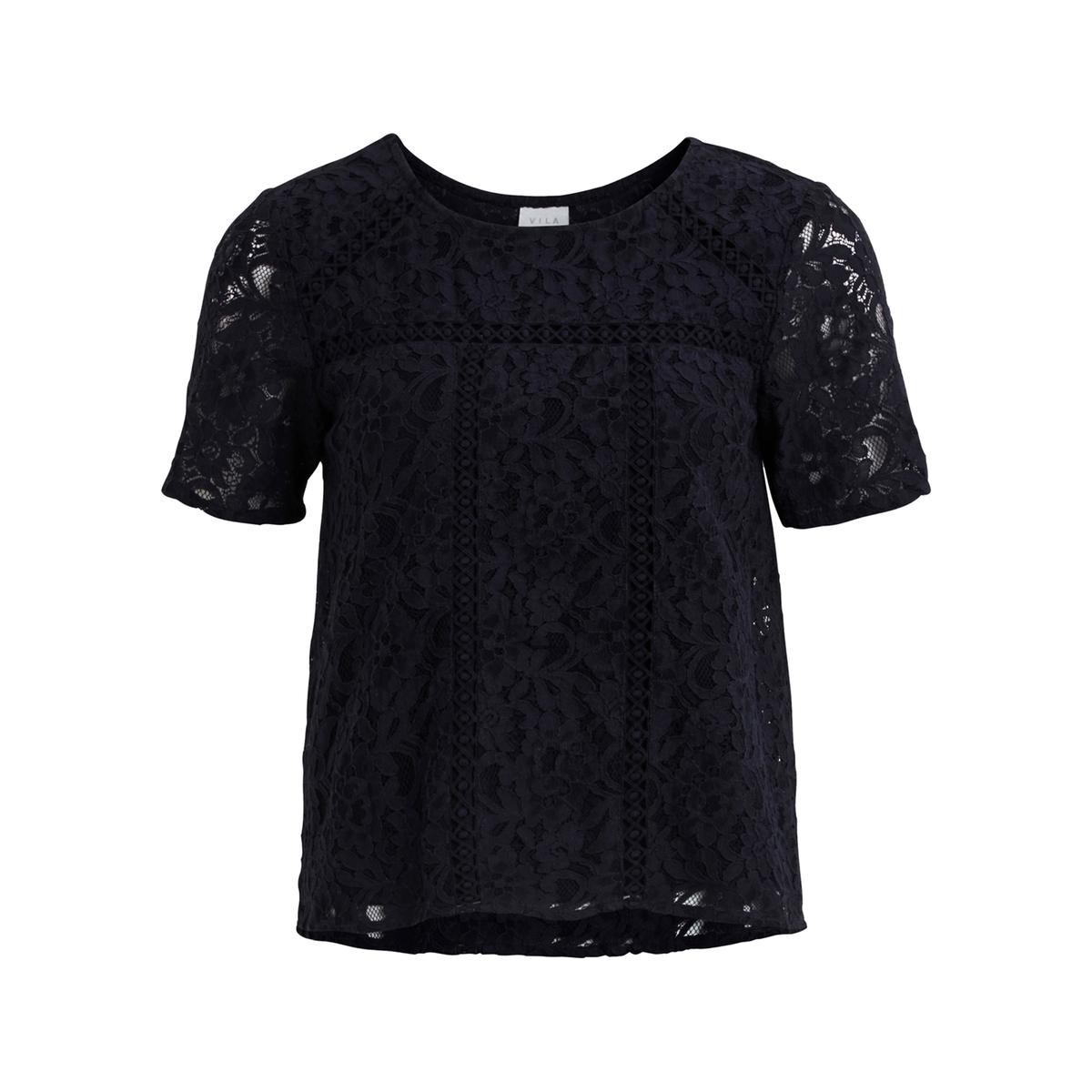 Блузка однотонная с круглым вырезом и короткими рукавами блуза vila vila vi004ewupu90