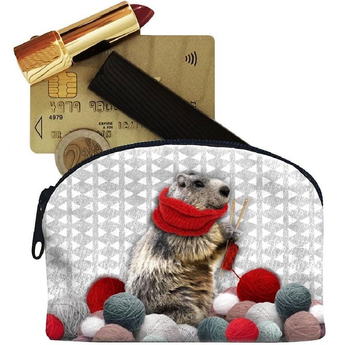Petit porte-Monnaie Marmotte en toile Laissez lucie Faire