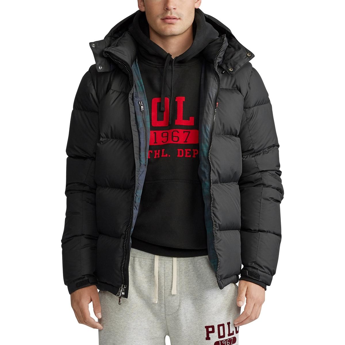 Куртка La Redoute Стеганая на молнии утепленная со съемным капюшоном XL черный куртка la redoute стеганая на молнии из двух материалов со съемным капюшоном m синий