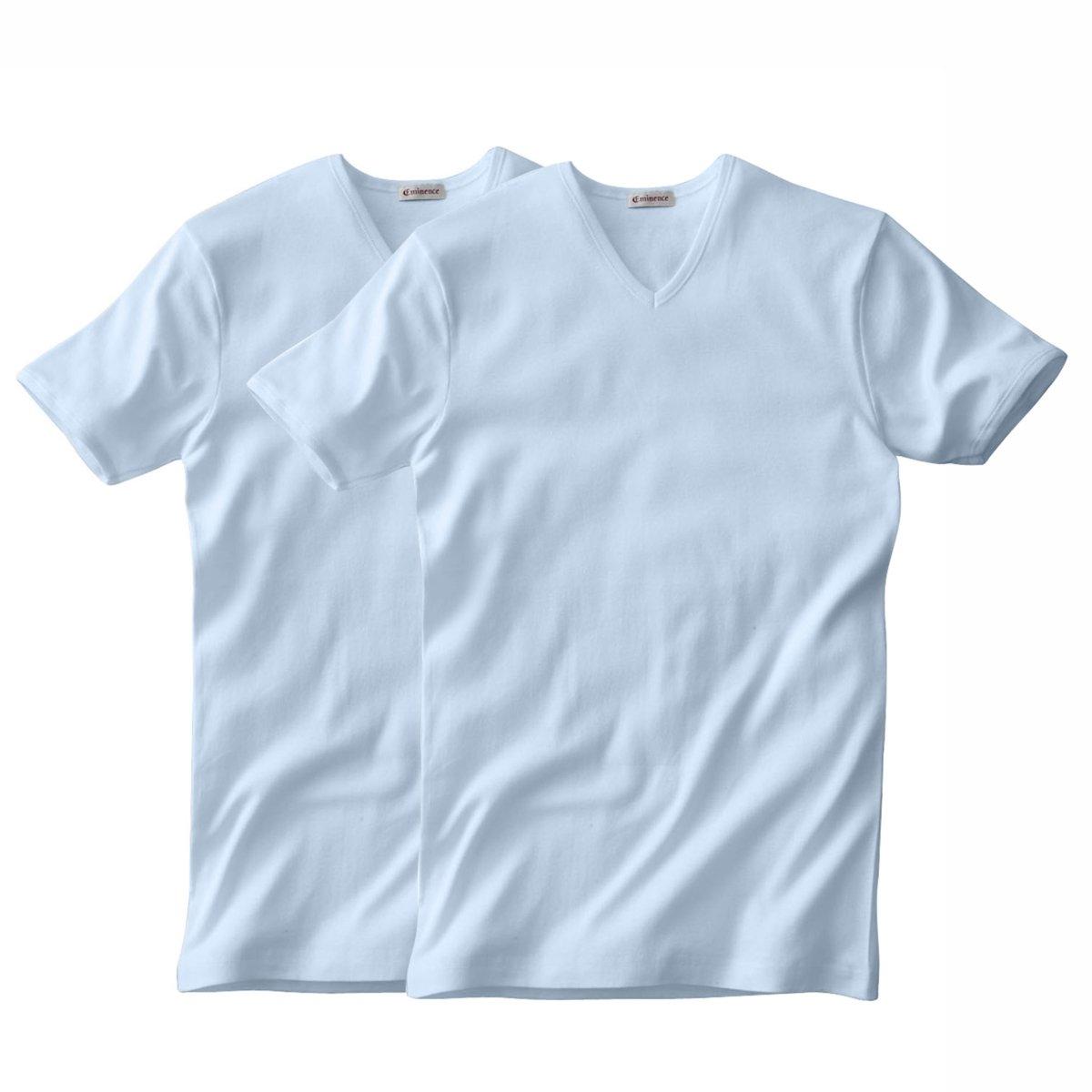 Комплект из 2 футболок EMINENCE с V-образным вырезом и короткими рукавами2 футболки EMINENCE из трикотажа в тонкий рубчик, 100% гипоаллергенного хлопка. V-образный вырез и короткие рукава : приятный материал, минимальный риск аллергии. Ультракомфортная футболка ! Края связаны в рубчик.     В комплекте 2 футболки одного цвета.<br><br>Цвет: небесно-голубой,серый меланж<br>Размер: M.L.L.XL.3XL
