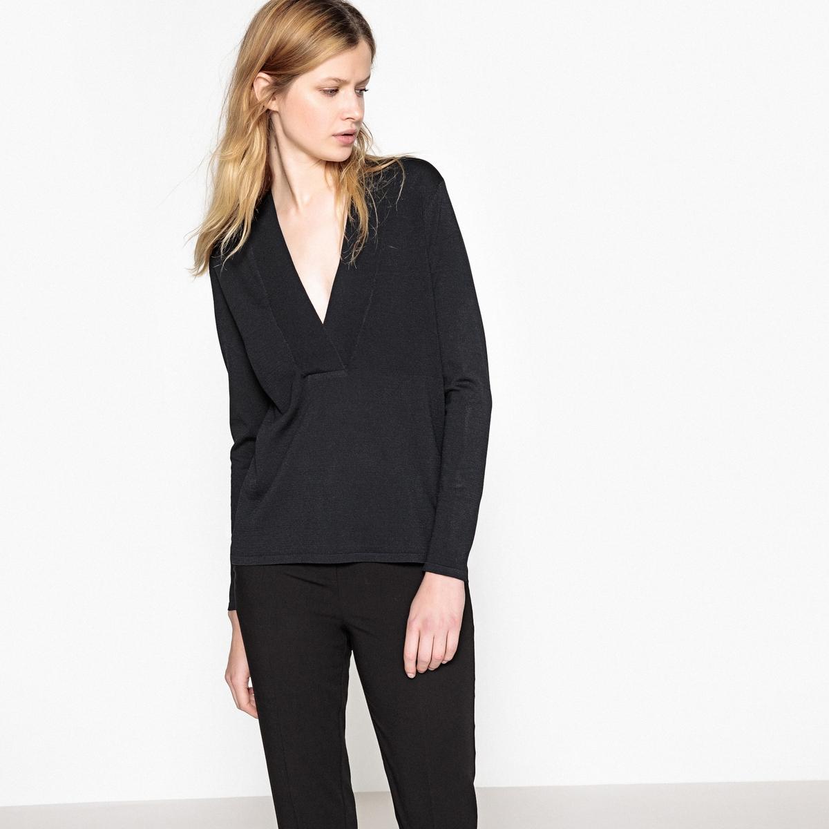 купить Пуловер-туника с V-образным вырезом из тонкого трикотажа по цене 1179.6 рублей