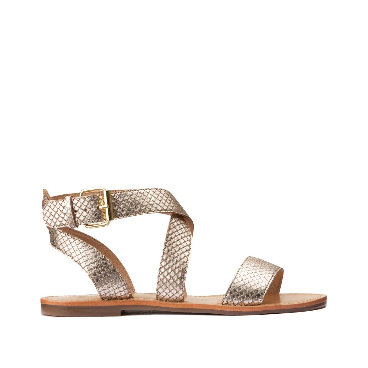 Sandalias de piel con efecto de escamas y tacón plano