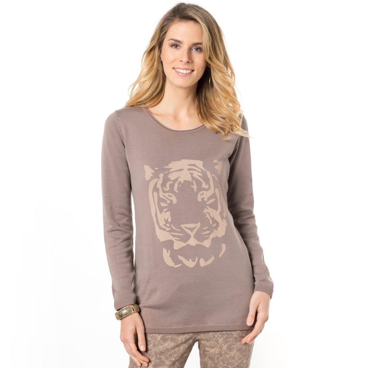 Пуловер, 50% хлопкаКруглый вырез. Принт спереди. Длинные рукава, уменьшенные проймы. Края в рубчик 1x1. Округлый низ с небольшими боковыми сборками. Длина 68 см. Трикотаж из 50% хлопка и 50% акрила.<br><br>Цвет: серо-коричневый<br>Размер: 50/52 (FR) - 56/58 (RUS)