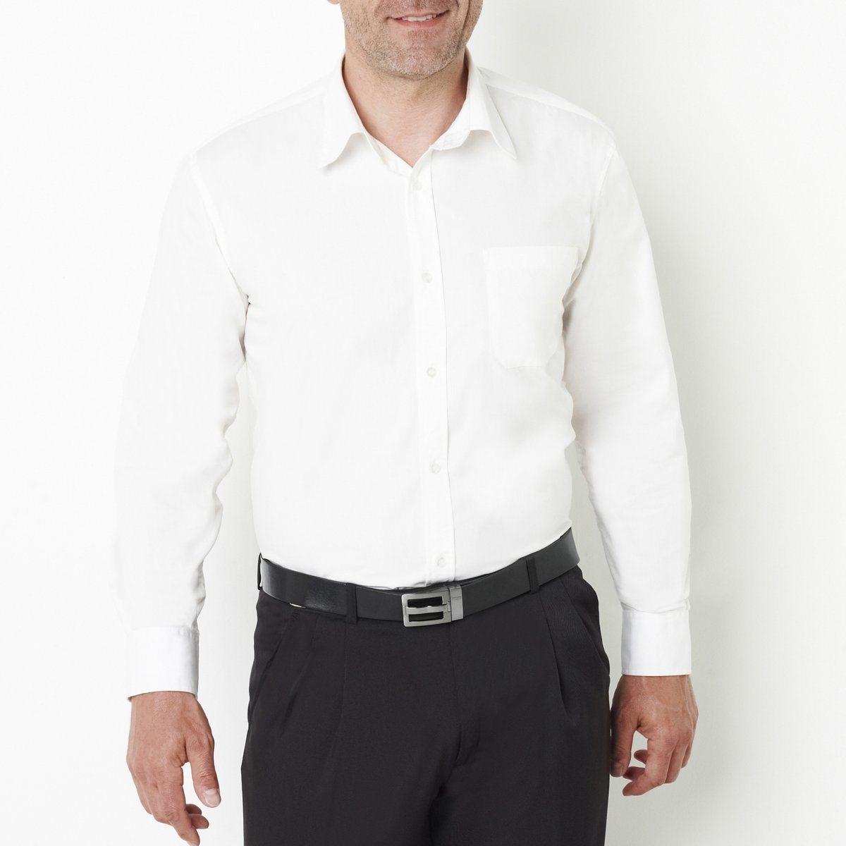 Рубашка однотонная с длинными рукавамиОписание:Детали •  Длинные рукава •  Прямой покрой •  Классический воротникСостав и уход    •  Стирать при 40° •  Любые растворители / не отбеливать   • Барабанная сушка на слабом режиме       • Средняя температура глажки Товар из коллекции больших размеров •  Длина  : 90 см<br><br>Цвет: белый,черный<br>Размер: 49/50.53/54.43/44.45/46.49/50