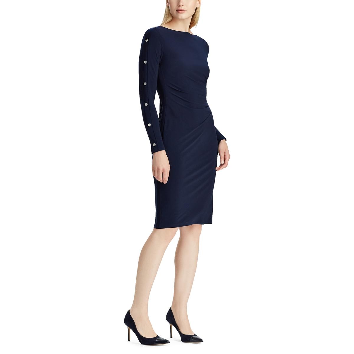 Платье La Redoute Прямое с длинными рукавами 40 (FR) - 46 (RUS) синий платье с длинными рукавами с вышивкой