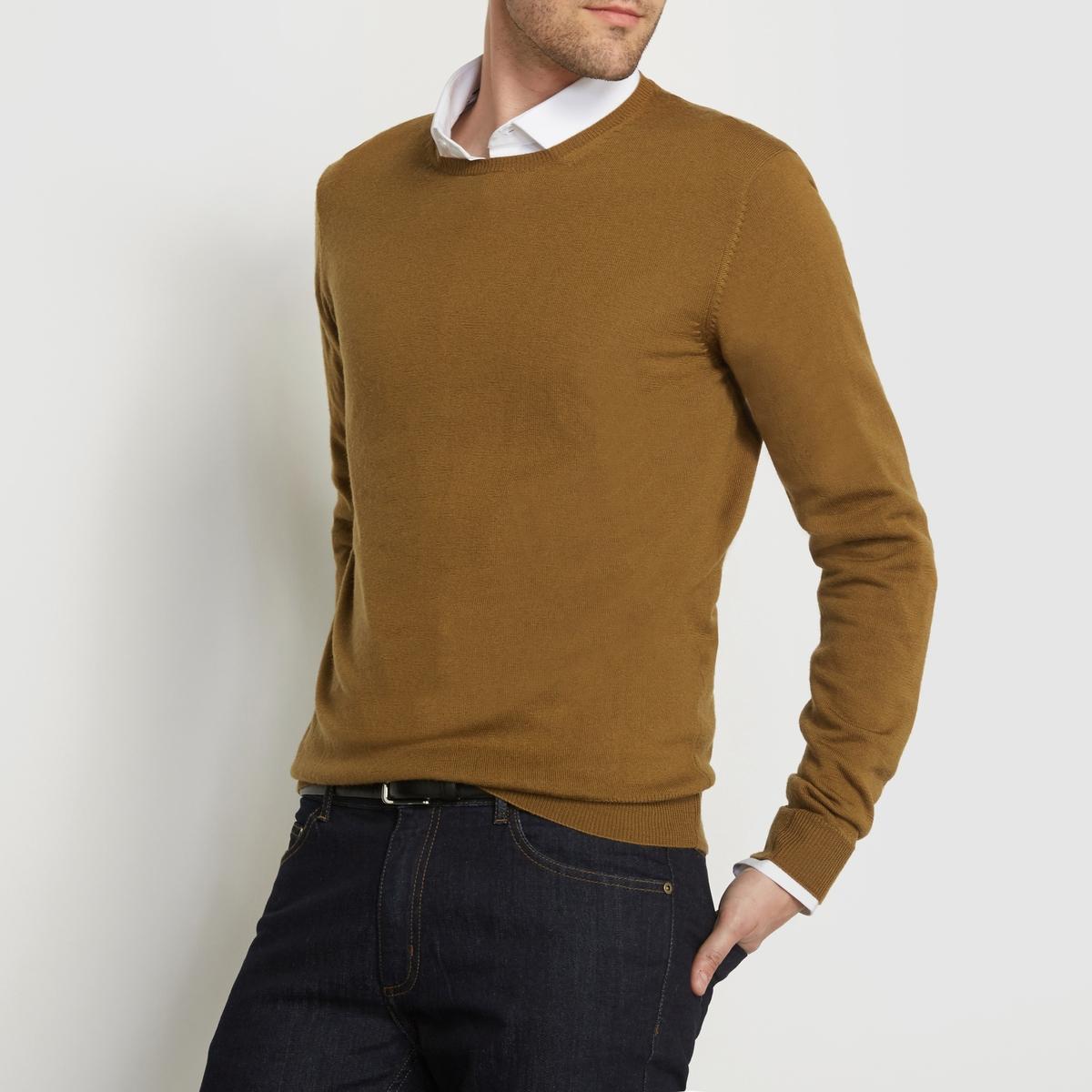 Пуловер из шерсти мериноса, с круглым вырезом