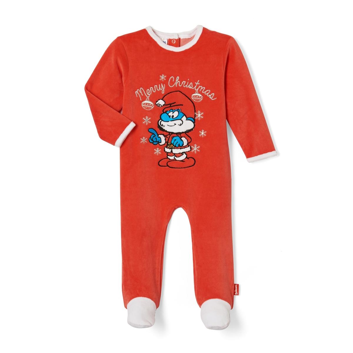 Пижама из велюра с носочками, 3 мес - 2 лет