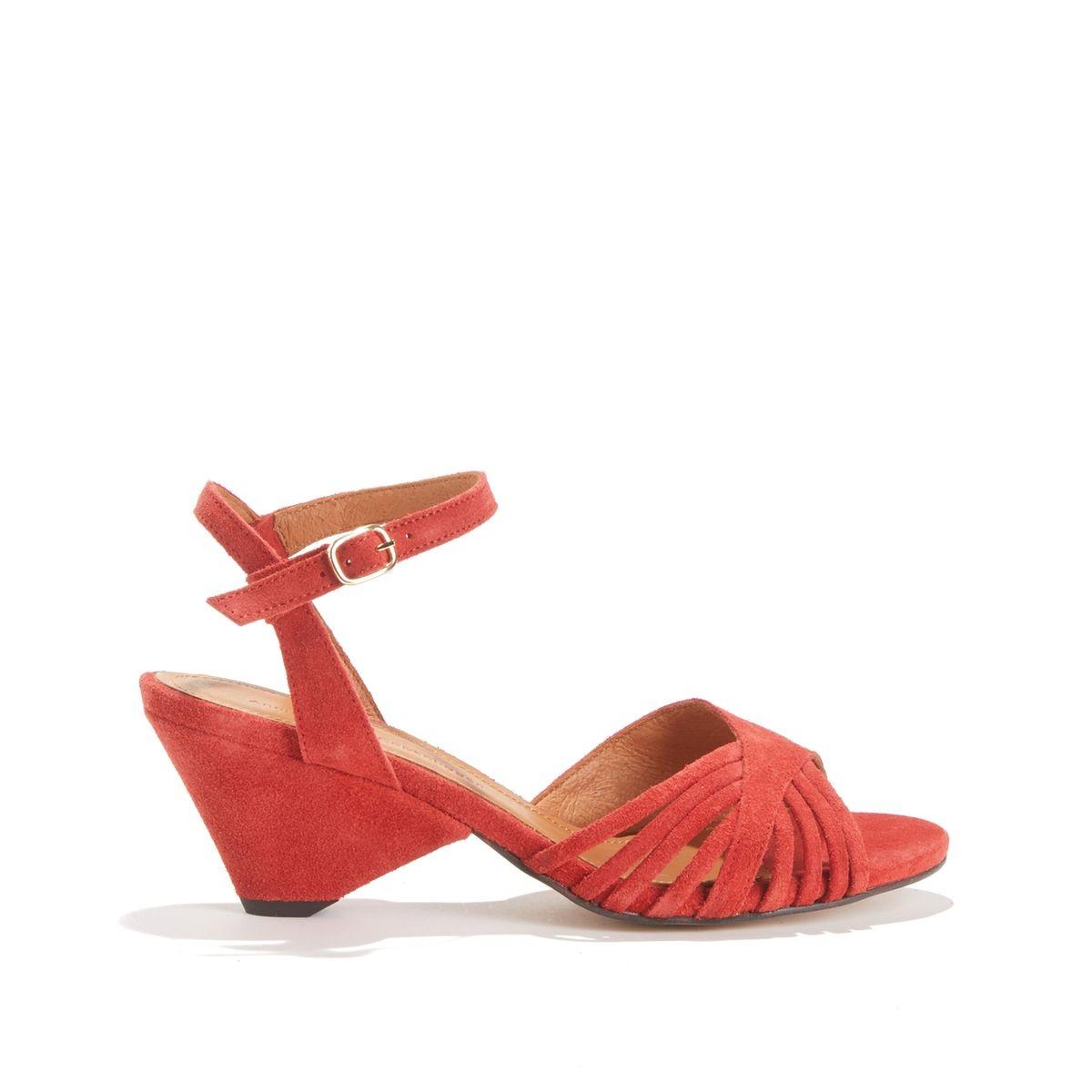 Sandales à talon moyen, cuir suédé HELIA