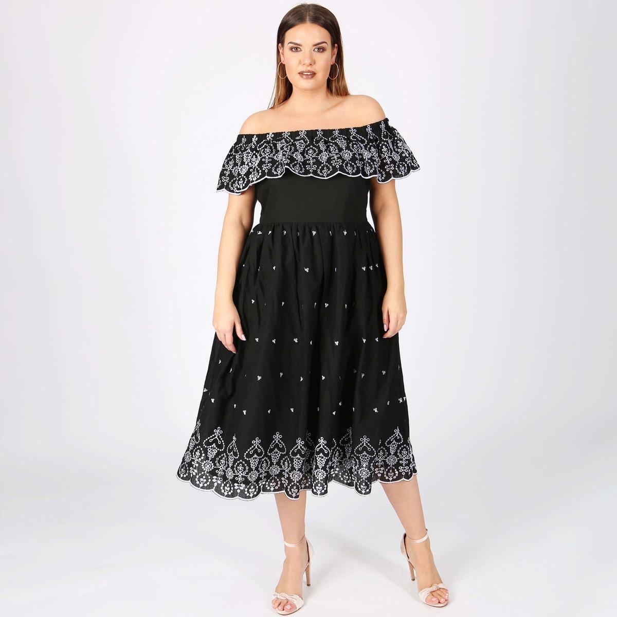 Платье кружевное расклешенное длиной 3/4 кружевное платье миди 40 44