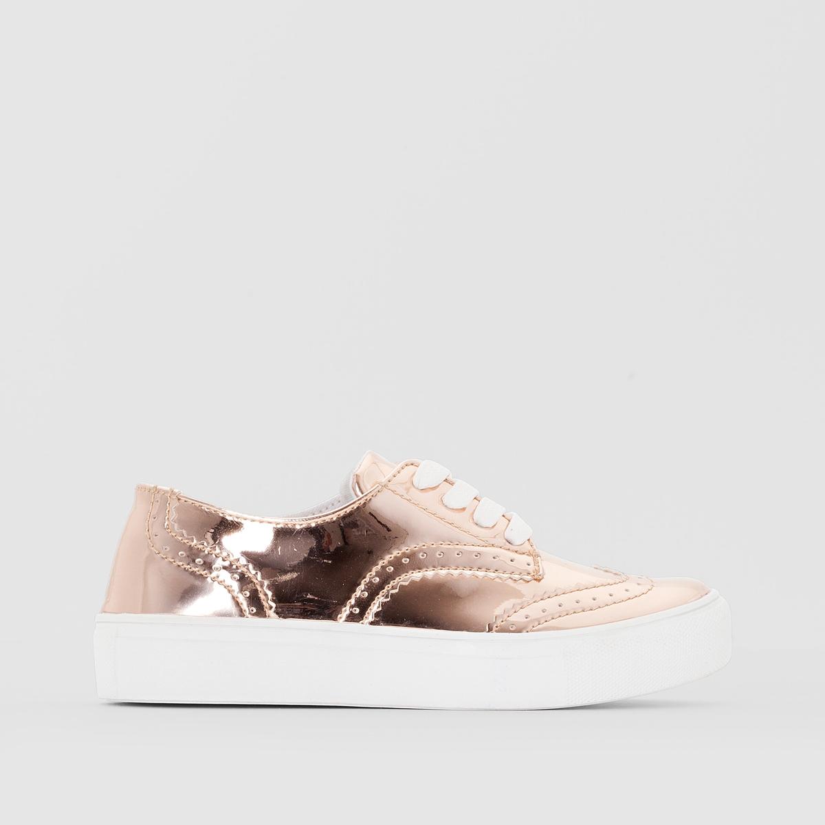 Кеды синтетическиеДетали  •  Спортивный стиль •  Плоский каблук •  Застежка : шнуровкаСостав и уход  •  Верх 100% синтетический материал •  Подкладка 100% хлопок<br><br>Цвет: розовый золотистый<br>Размер: 34.30