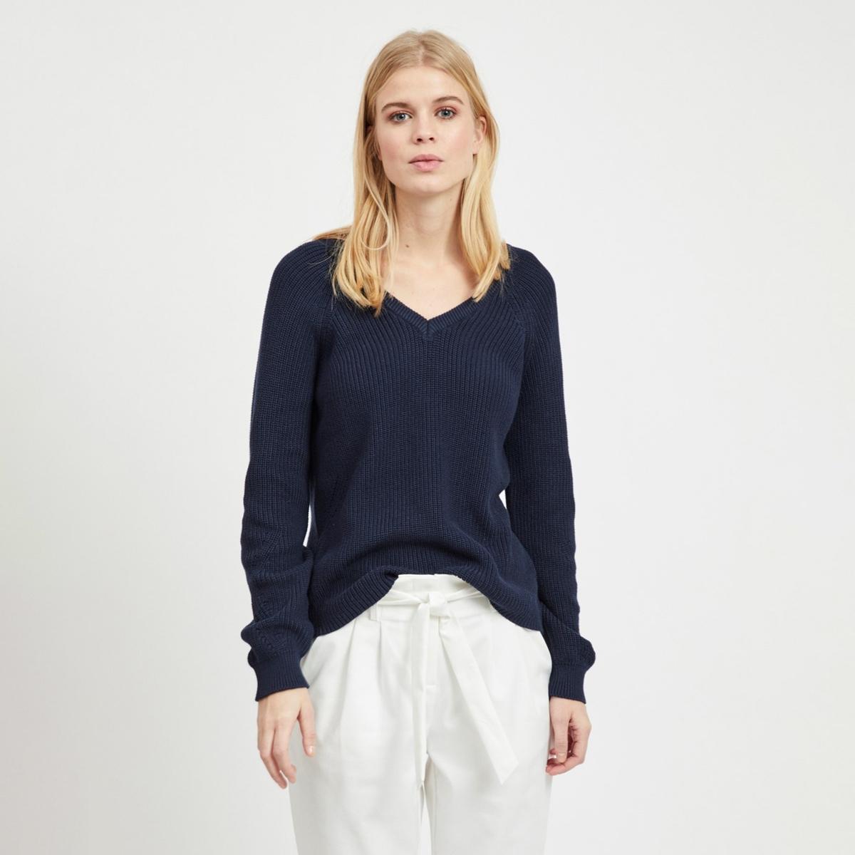 Пуловер La Redoute С V-образным вырезом из тонкого трикотажа XS синий